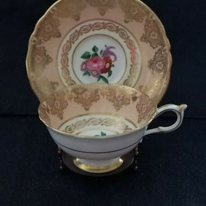 Vintage Paragon Teacup & Saucer - Peach & Gold